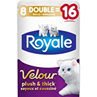 Royale Velour, Plush & Thick Toilet Paper, 8 Double equal 16 rolls, 142 bath tissues per roll