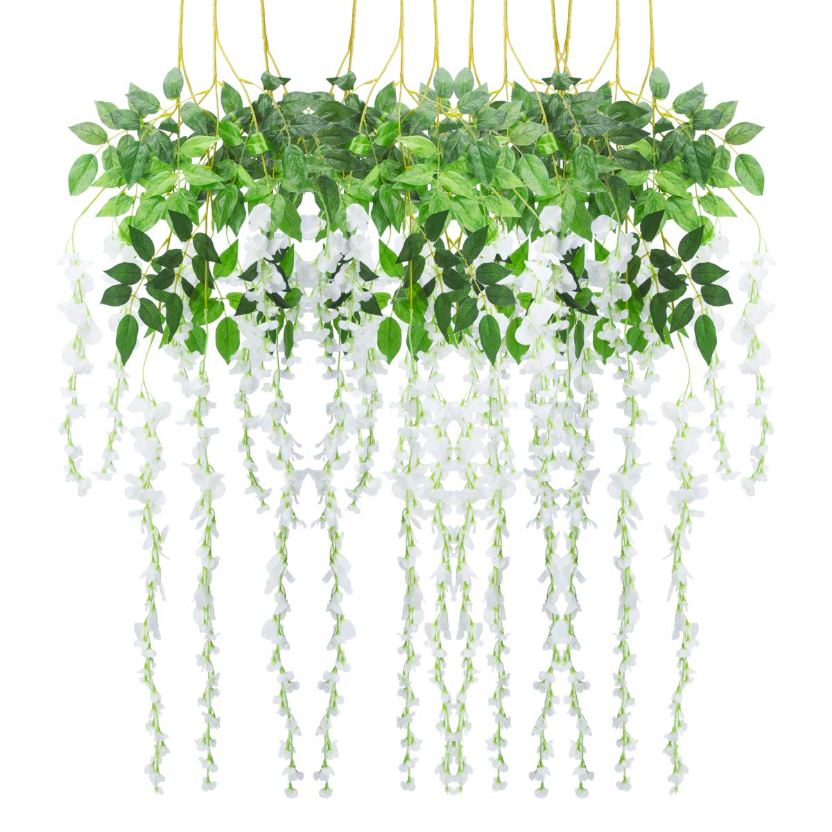 Bomarolan Wisteria Artificial Silk Vine Flowers Fake Hanging Garland for Wedding Arch Backdrop Decor 3 5//8 Feet Pack of 12 Pieces(White)