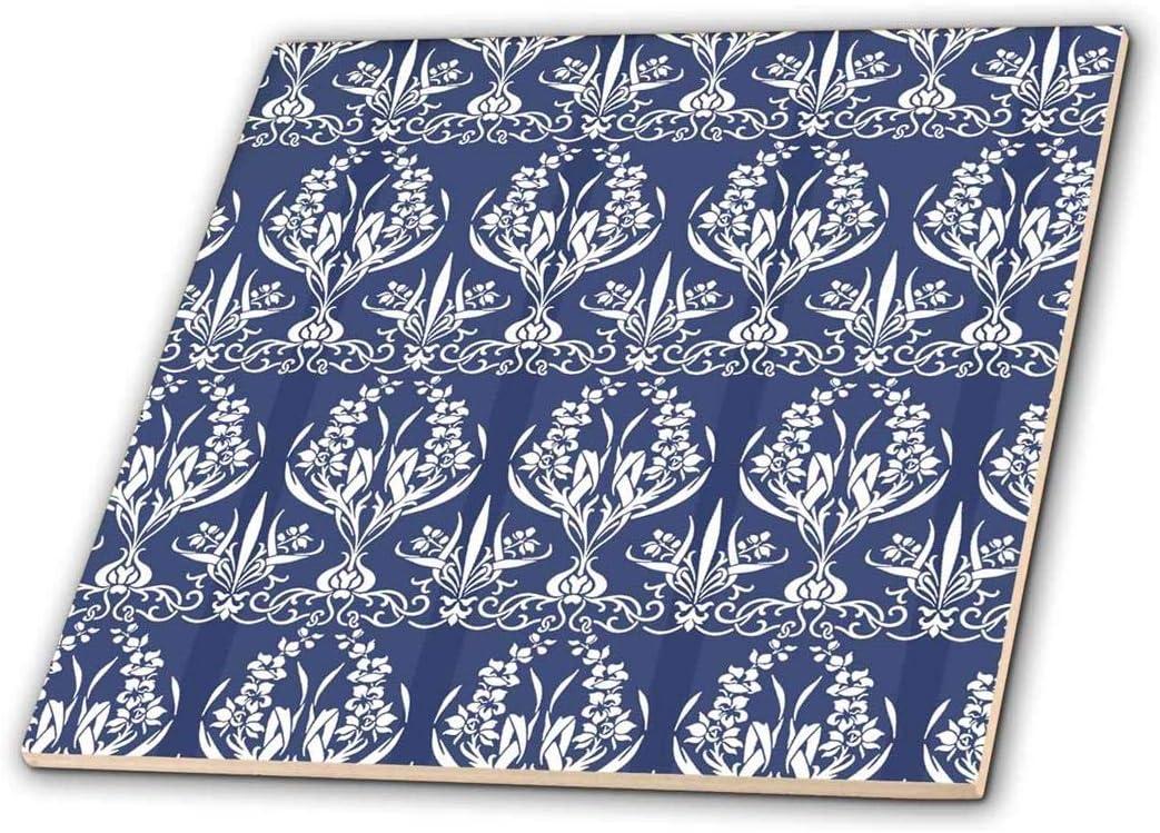 3dRose French Country-Stil Blumen Damast in blau/ 6/ CT 216478//_ 2 /Keramik Fliesen