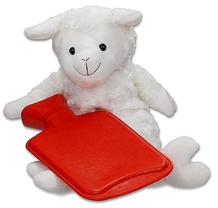 Bolsa de agua caliente oveja Peluche Funda - 0,7 l Caucho ...