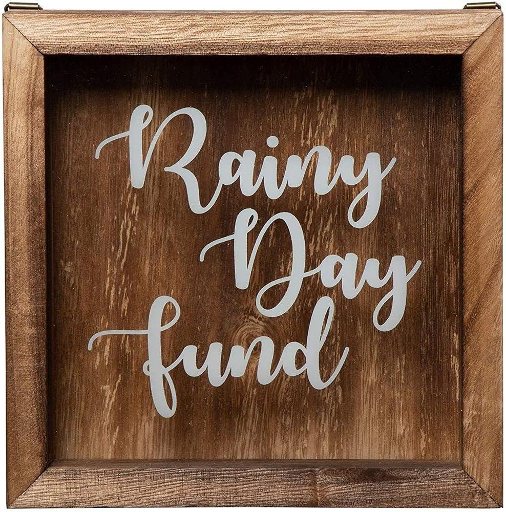 Genie Crafts Wooden Shadow Box Bank, Rainy Day Fund (7.1 x 1.8 Inches)