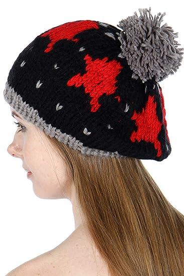 d7df8b4cc9fd6 SERENITA Beret Beanie Hat with Pompom
