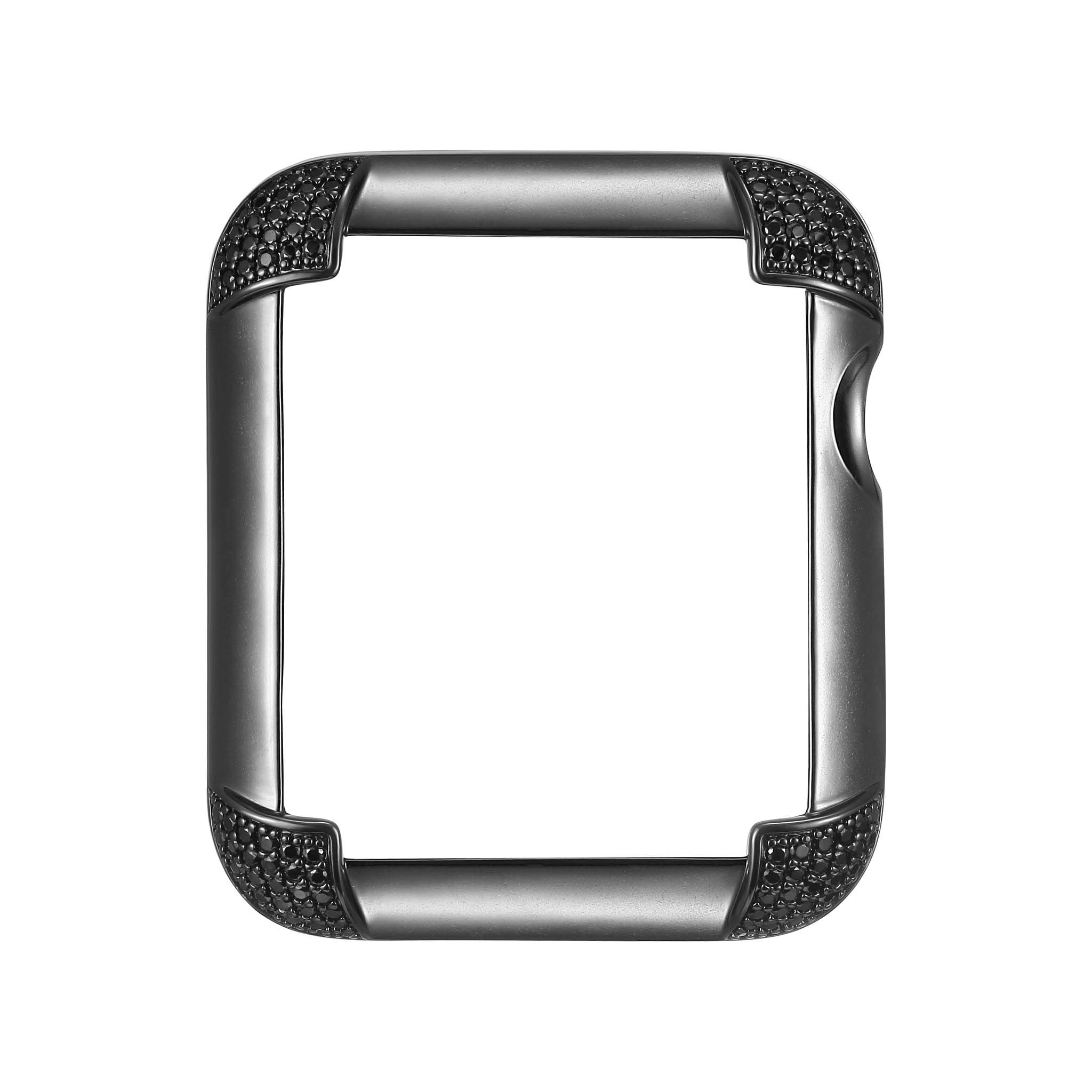 Matte Black Rhodium Plated Jewelry-Style Apple Watch Case with Genuine Spinel Pavé Corners - Large (Fits 42mm iWatch) by SkyB (Image #1)