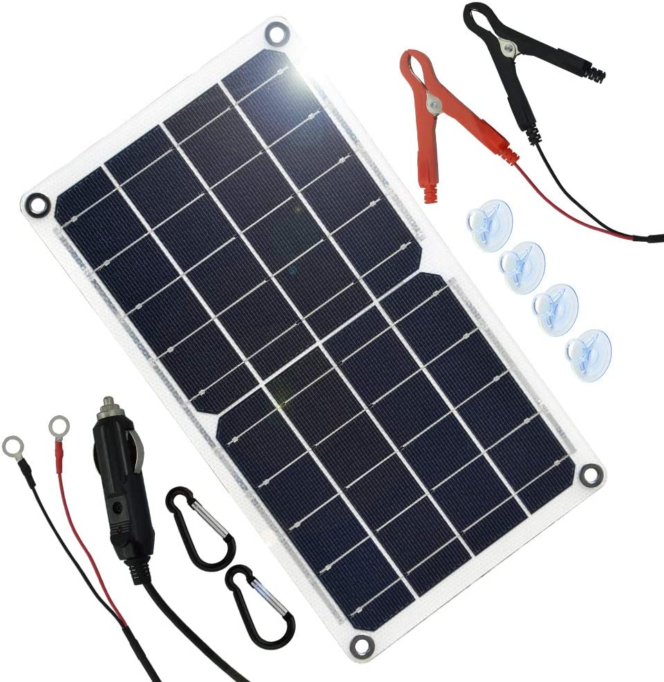 TP-solar 10 Watt 12 Volt Solar Panel Car Battery Charger 10W 12V Portable Solar Trickle Battery Maintainer with Cigarette Lighter Plug & Alligator Clip for Car Boat Motorcycle Tractor