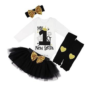 5e12496c7ff5 KANGKANG Baby Girl First New Year Tutu Dress Outfit My 1st New Year Romper  + Leg