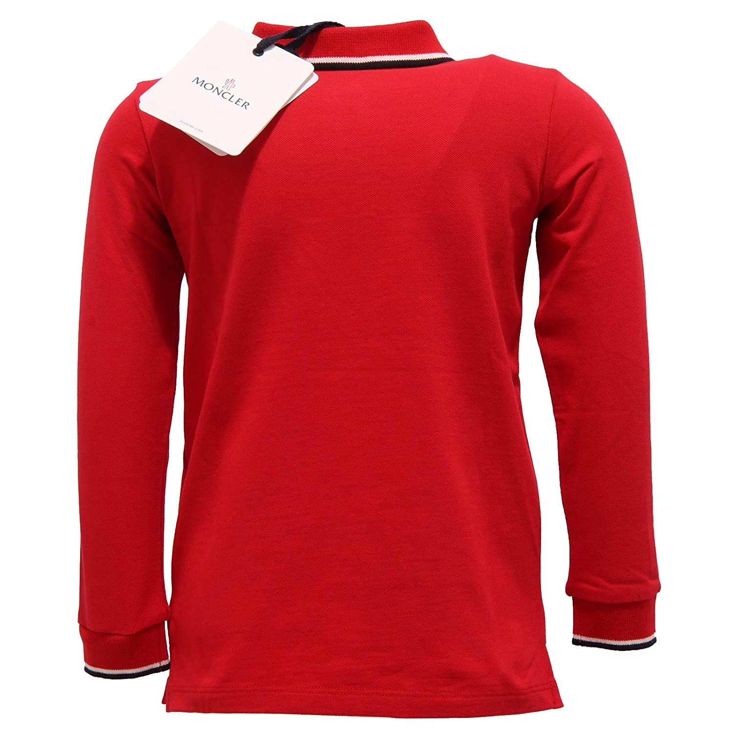 MONCLER 7394Y Polo Bimbo Boy Red Cotton Long Sleeve Polo t-Shirt ...