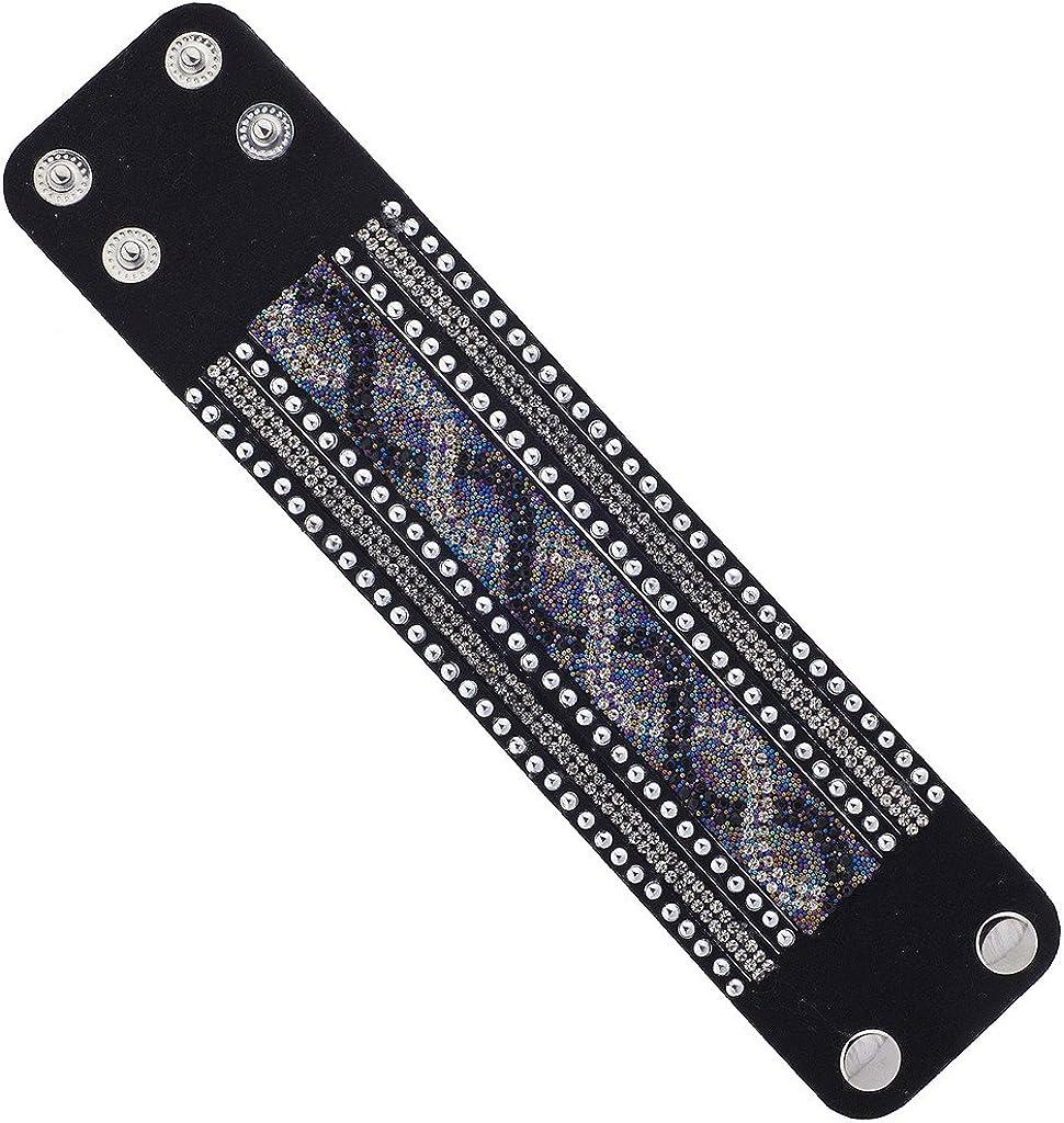 LUX accesorios negro Suede Piedra Plata Tono Studded Multi Color Wrap pulsera