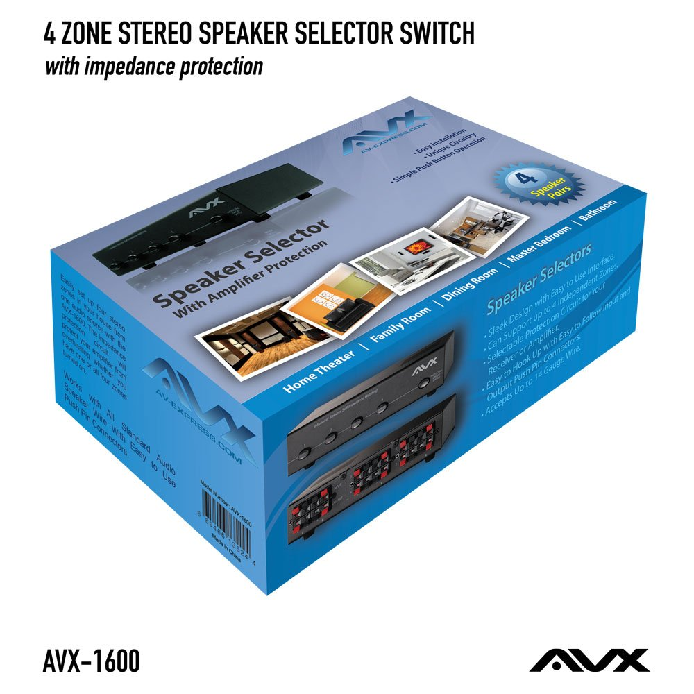 4 Zone Stereo Speaker Selector Switch With Impedance Old Style 3 Way Wiring Protection By Avx Audio Electronics