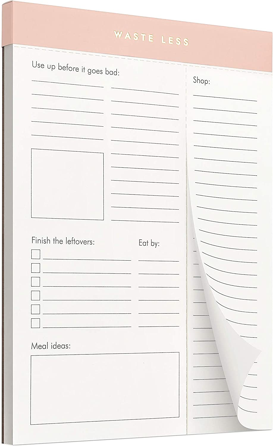 Waste Less - Track Perishables - Reduce Food Waste. Magnetic Meal Planner Pad & Grocery List, 52 Tear-Off Pages (8 x 6 in)