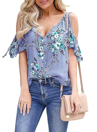 73875c9d3662ac Asvivid Womens Cold Shoulder Shirt Ruffle Short Sleeve Summer T-Shirt  Floral Printed V Neck