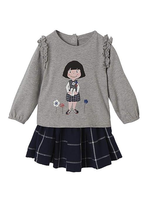 VERTBAUDET Conjunto para bebé niña de camiseta y falda GRIS CLARO ...