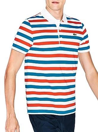 11939b05 Polo Shirt Lacoste Sport Stripe XL White: Amazon.co.uk: Clothing