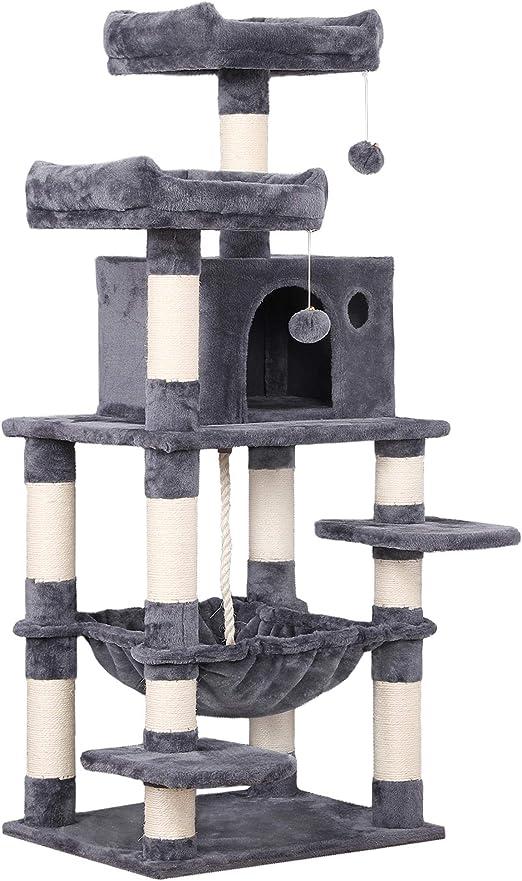 Yaheetech árbol para Gatos Rascador con Nidos Árbol Grande para Gatos Mascota Hamaca Plataforma 60,5 x 50,5 x 146,5 cm Gris Oscura: Amazon.es: Productos para mascotas