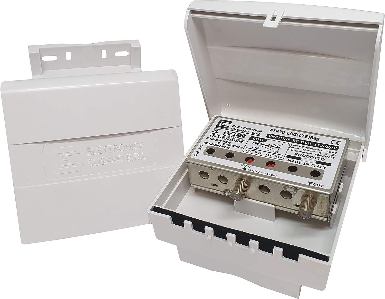 atp30-log (LTE) REG – Amplificador de Poste con Filtro LTE de 1 Entrada para Antena logarítmico-Lineal – Ganancia 30dB – para Zonas con señal de ...