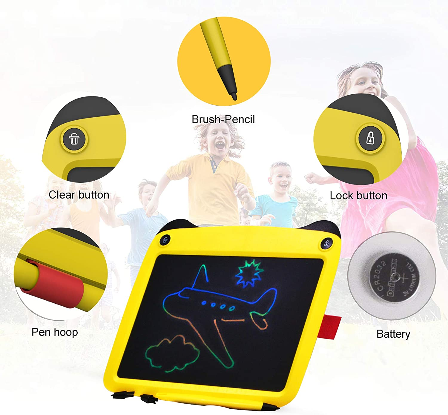 Educational and Learning Toy for 3-6 Years Old Boy and Girls kids drawing tablet lcd writing drawing board pad,Colorful Toddler Doodle Board Drawing Tablet Erasable Reusable Electronic Drawing Pads