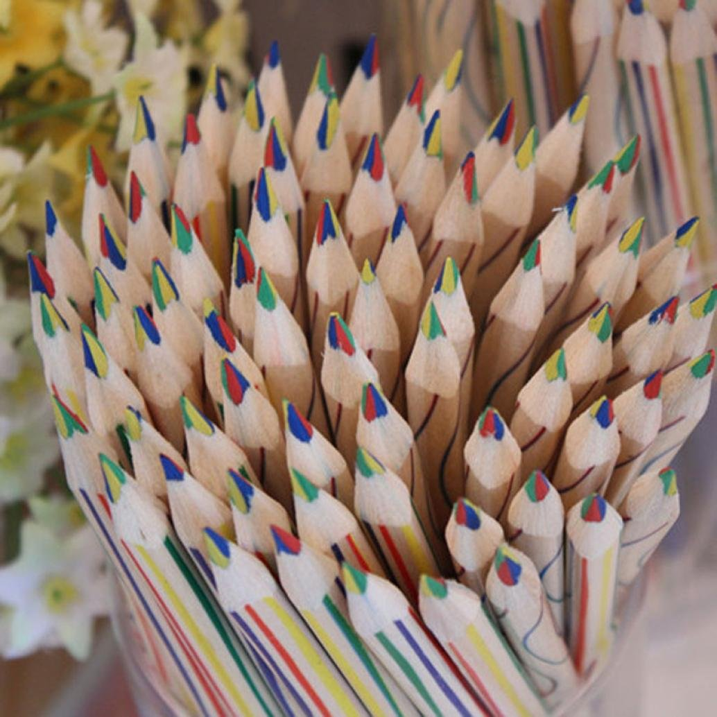 Gbell 10pcs Rainbow 4 in 1 Color Pencil Colored Pencils for Drawing Office School Stationery for Kids Girls Boys Adults