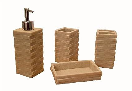 Lujo 4 Pcs Dispensador de piedra, resina y jabonera – Vaso de baño de cerámica