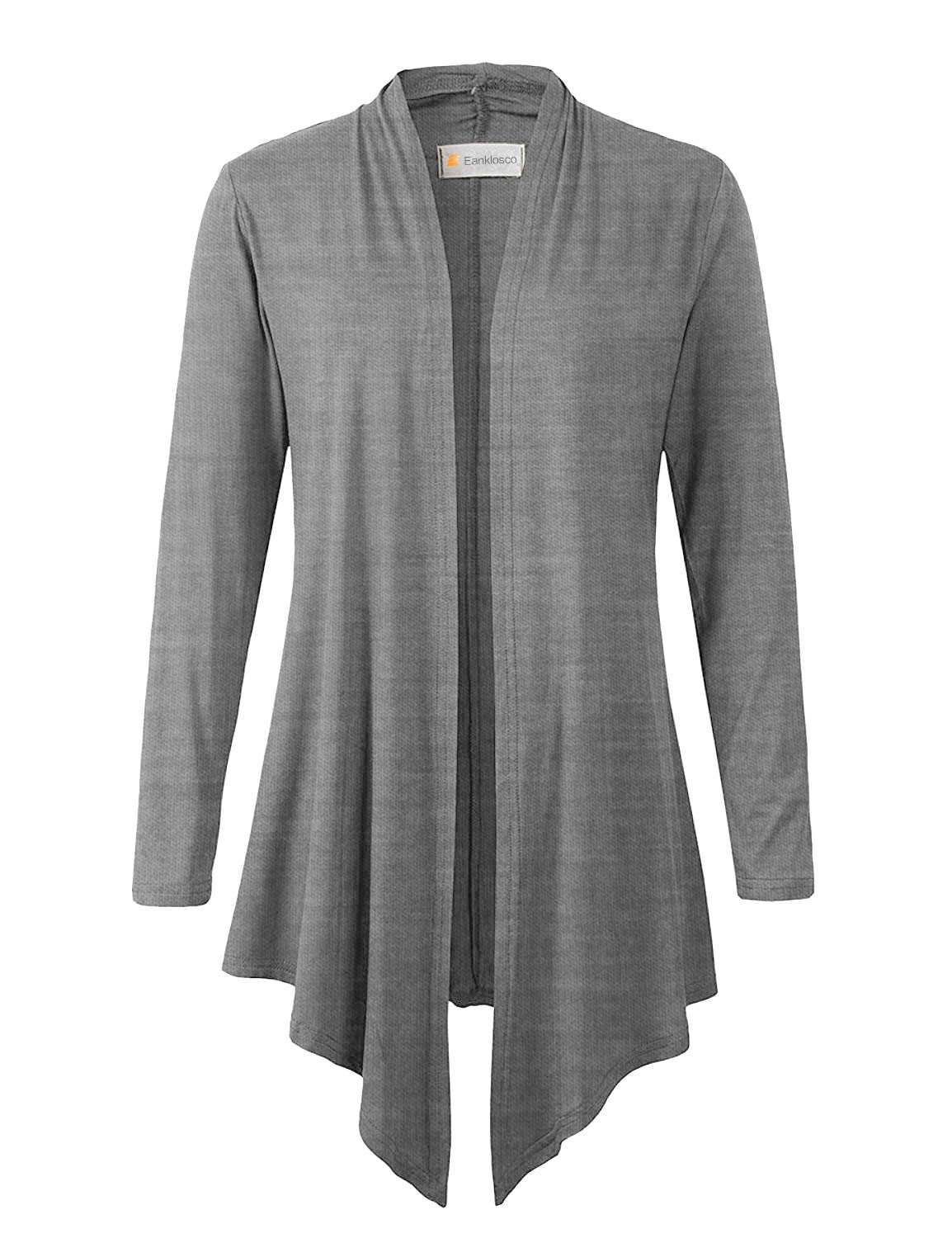 Eanklosco Women's Long Sleeve Drape Open-Front Cardigan Light Weight Irregular Hem Casual Tops (L, Heather Grey)
