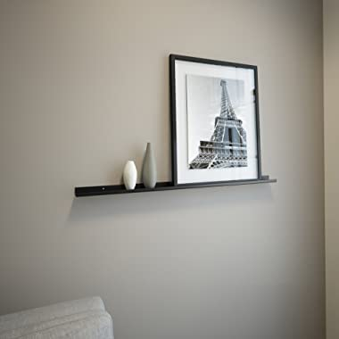 Black Powder Coated Carbon Steel Floating Ledge for Frames, Photos and Pictures (3 Ft Long by 2 In Wide)
