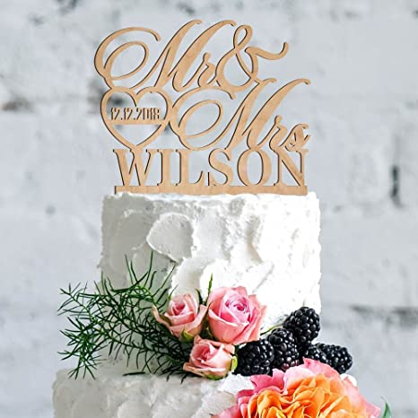 Amazon Com Personalized Wedding Cake Topper Mr Mrs Cake Toppers W Last Name And Date Custom Acrylic Cake Decorations Rustic Wedding Cake Topper For Bride And Groom 3 Wooden Patterns Kitchen