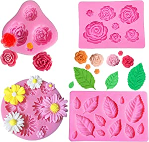 4 Pack Food Grade Silicone Fondant Decoration Molds, Small Rose Flower, leaf, Reusable Ice Candy Molds for Making Chocolate Fondant Jelly Polymer Clay Soap Crafting Projects and Cake Decoration
