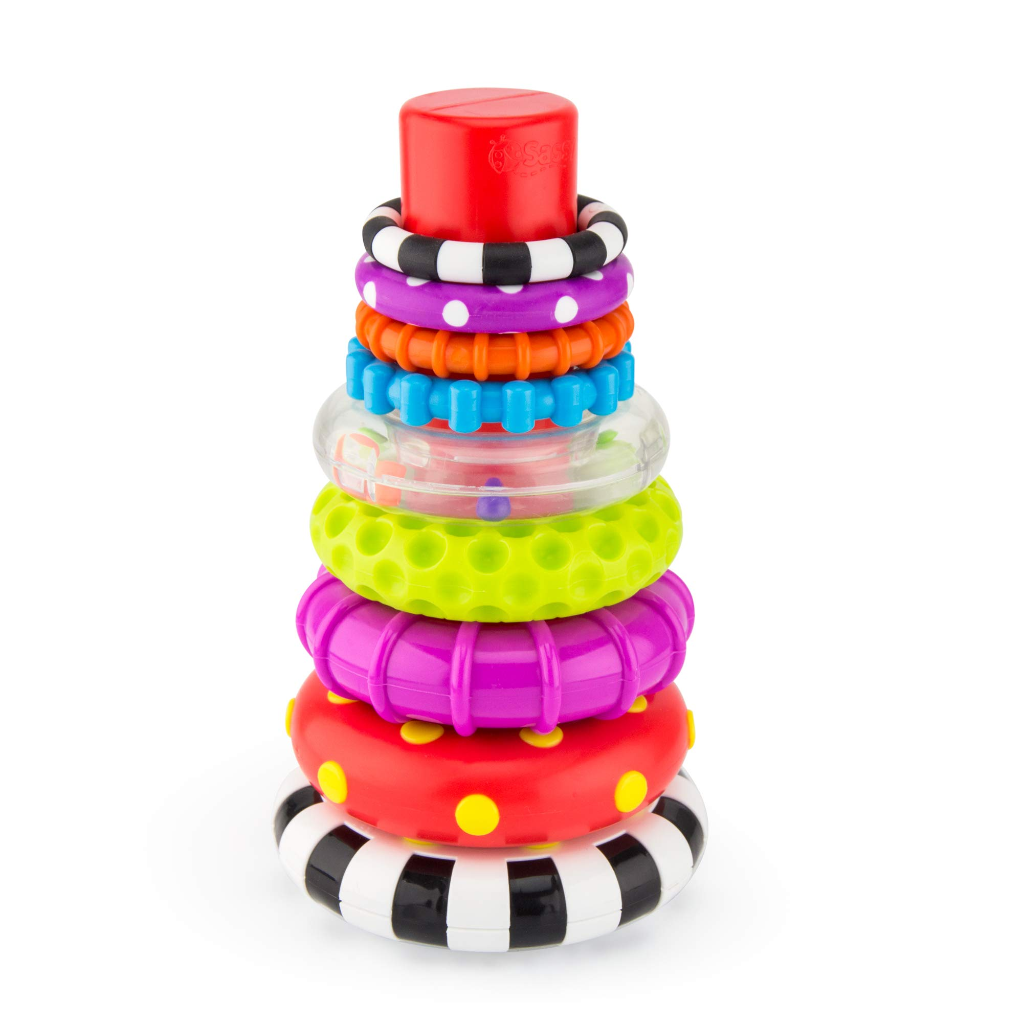 Sassy Stacks of Circles Stacking Ring STEM Learning Toy 9 Piece Set Age 6+ Months