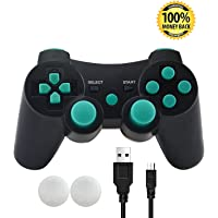 PS3 Controller, SKILEEN Wireless Bluetooth Double Vibration Game Remote Control Joystick Multi-Media Game Joypad for SONY PS3 with Charger Cable (Blue)