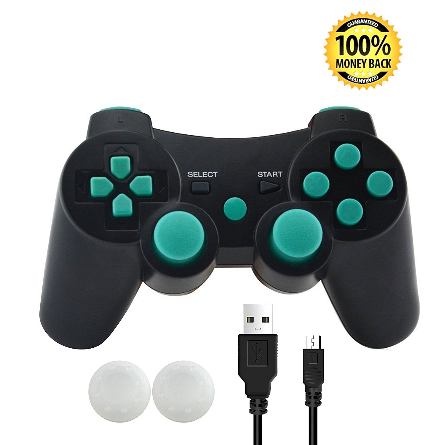 PS3 Controller, SKILEEN Wireless Bluetooth Double Vibration Game Remote Control Joystick Multi-Media Game Joypad for  PS3 with Charger Cable (Blue)