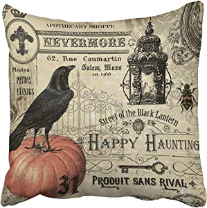 Accrocn Modern Vintage Halloween Pumpkin and Crow Halloween Decorative Throw Pillow Covers Cushion Cover Case 20x20 Inches Pillowcases Two Sided