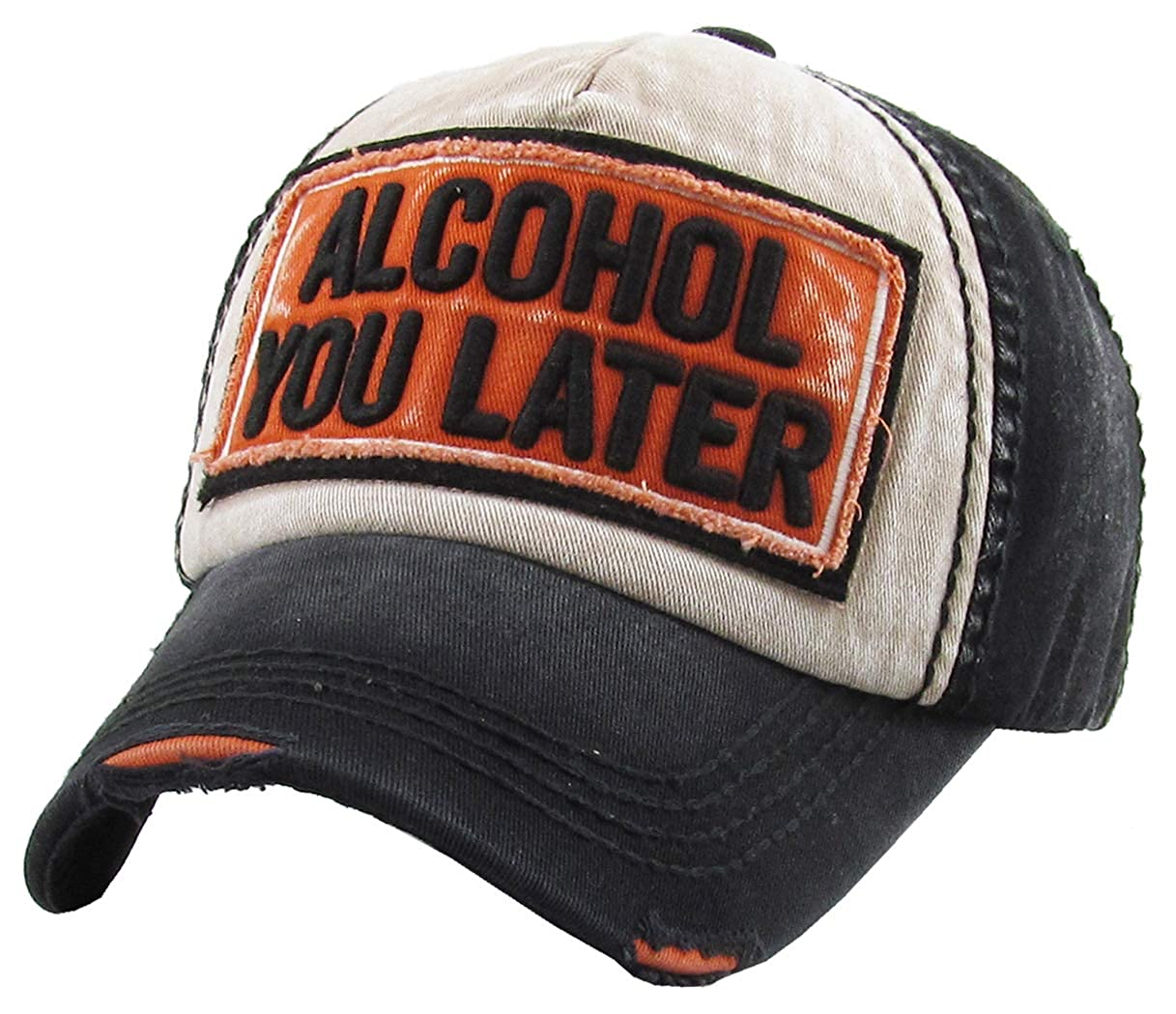 173a4cbcc Amazon.com: H-212-AYL0635 Distressed Baseball Cap - Alcohol you later,  Black/Orange: Clothing