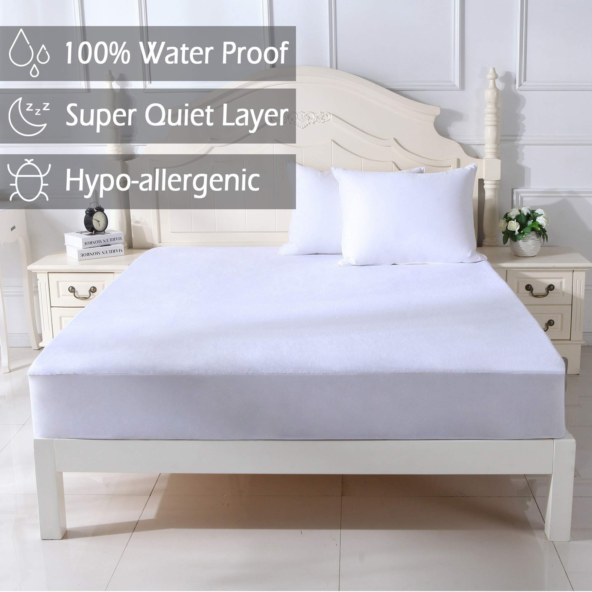 100% Waterproof Mattress Protector Cover with Dupont Durashield Breathable Cotton Rich To Protect Mattress From Stains Spills Dust Mites Allergens And Bacteria. Fit Up To 21 Inch Mattress. (Twin Size)