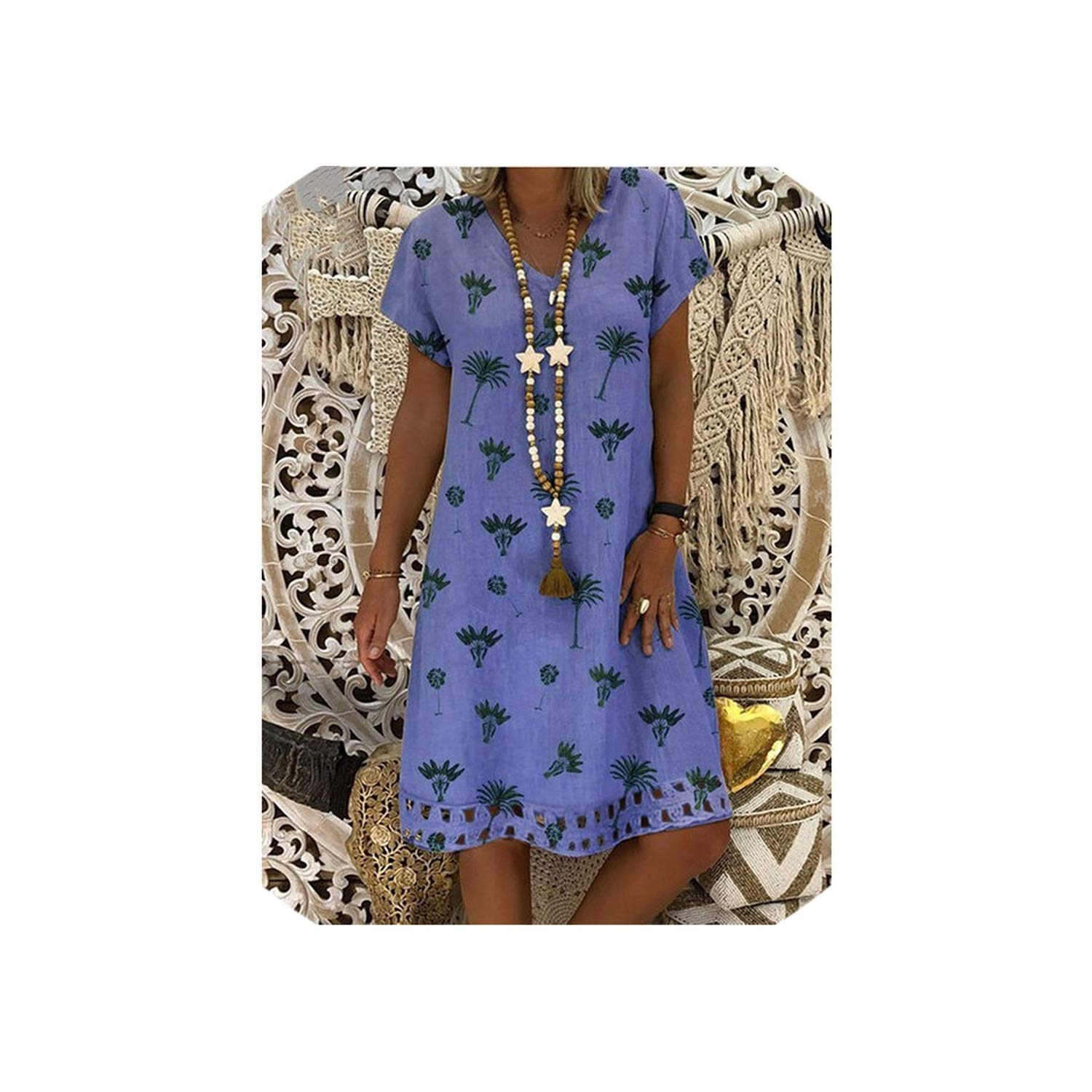 bluee Moonky dresses Loose Casual Dress Summer Women Yellow Floral Midi Dress Plus Size Ladies Shortsleeve A Line Summer Dress