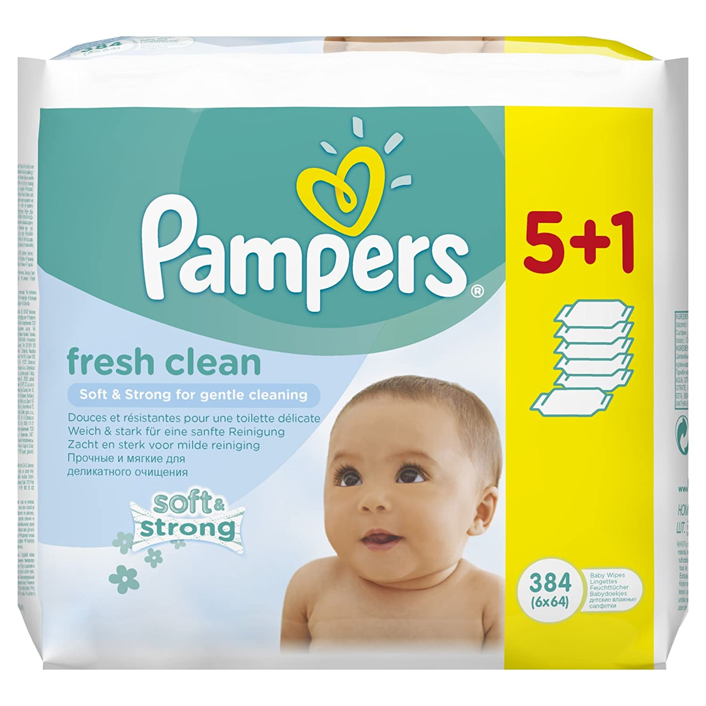 Pampers, Salviette umide per bebè Fresh, confezione convenienza 5 + 1, 2 confezioni (2 x 384 pz.) Procter & Gamble DE 4015400622703
