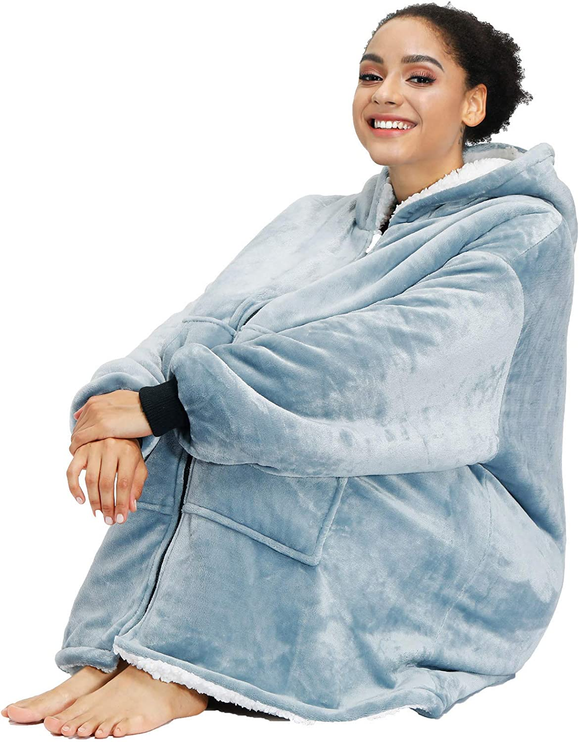 Hoodie Blanket Oversized Ultra Plush Comfy Sherpa Revisible Warm robe Winter New