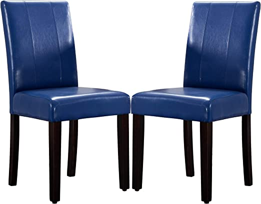 Amazon Com Leatherette Dining Chairs Solid Wood Set Of 2 Blue Chairs