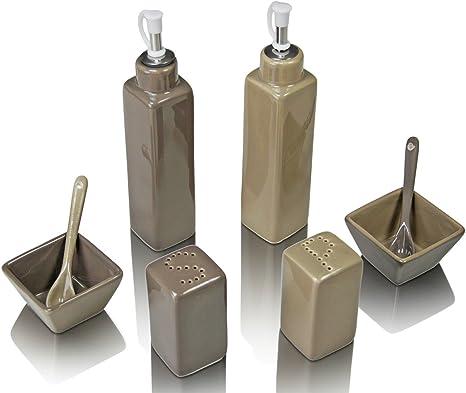 4er Menage Set Pfefferstreuer Salzstreuer Essig und Ölflasche aus Porzellan