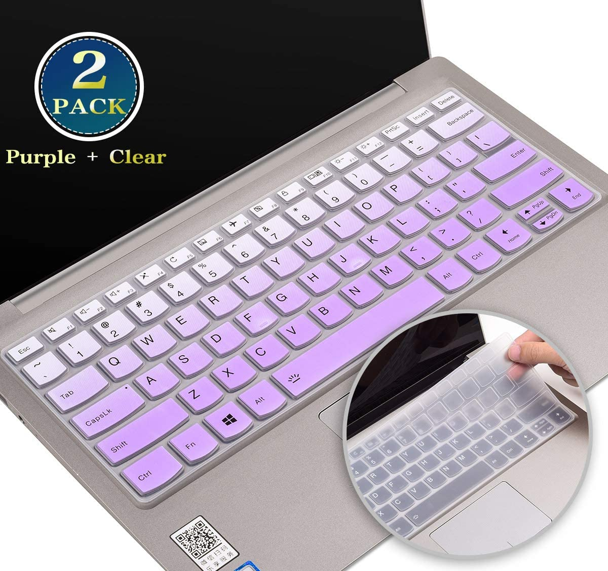 "for Lenovo Yoga 730 Keyboard Cover, Silicone Keyboard Skin for Lenovo Flex 15/Flex 14, Lenovo Yoga C740 C940 C930 13.9 Inch,Lenovo Yoga 720 13.3"" 12.5"" Protector(Purple+Clear)"