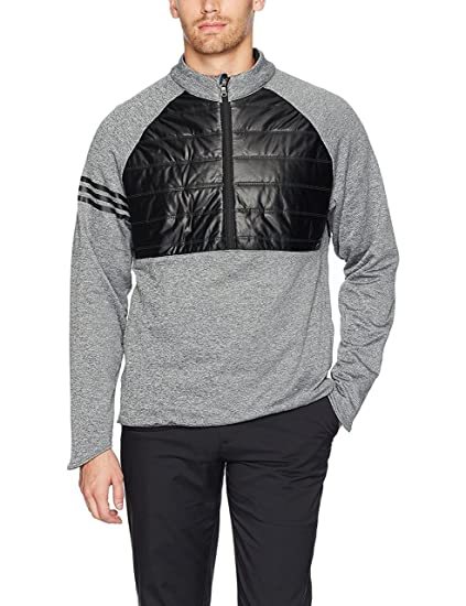 63766fbc11 adidas 2017 3 Stripes Climaheat Quilted 1/4 Zip Performance Golf  Jacket/Sweater Black