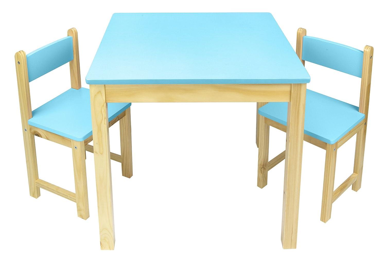LEOMARK Mesa De Madera Sillas Juego De Muebles Infantiles Para Niños Azul: Amazon.es: Hogar