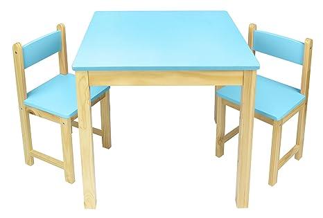 LEOMARK Mesa De Madera Sillas Juego De Muebles Infantiles Para Niños Azul