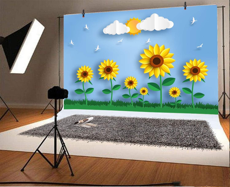AOFOTO 7x5ft Cartoon Sunflowers Portrait Backdrop Sun Blue Sky White Cloud Grassland Vinyl Photography Background Newborn Children Birthday Kindergarten Classroom Wallpaper Photo Studio Prop