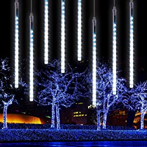 Verxii Home Falling Rain Lights 13.8ft 8 Tube 224 LEDs, Meteor Shower Lights Waterproof, Icicle Snow Fall String Cascading Lights, Christmas Lights for Holiday Party Wedding, Garden Decoration (White)