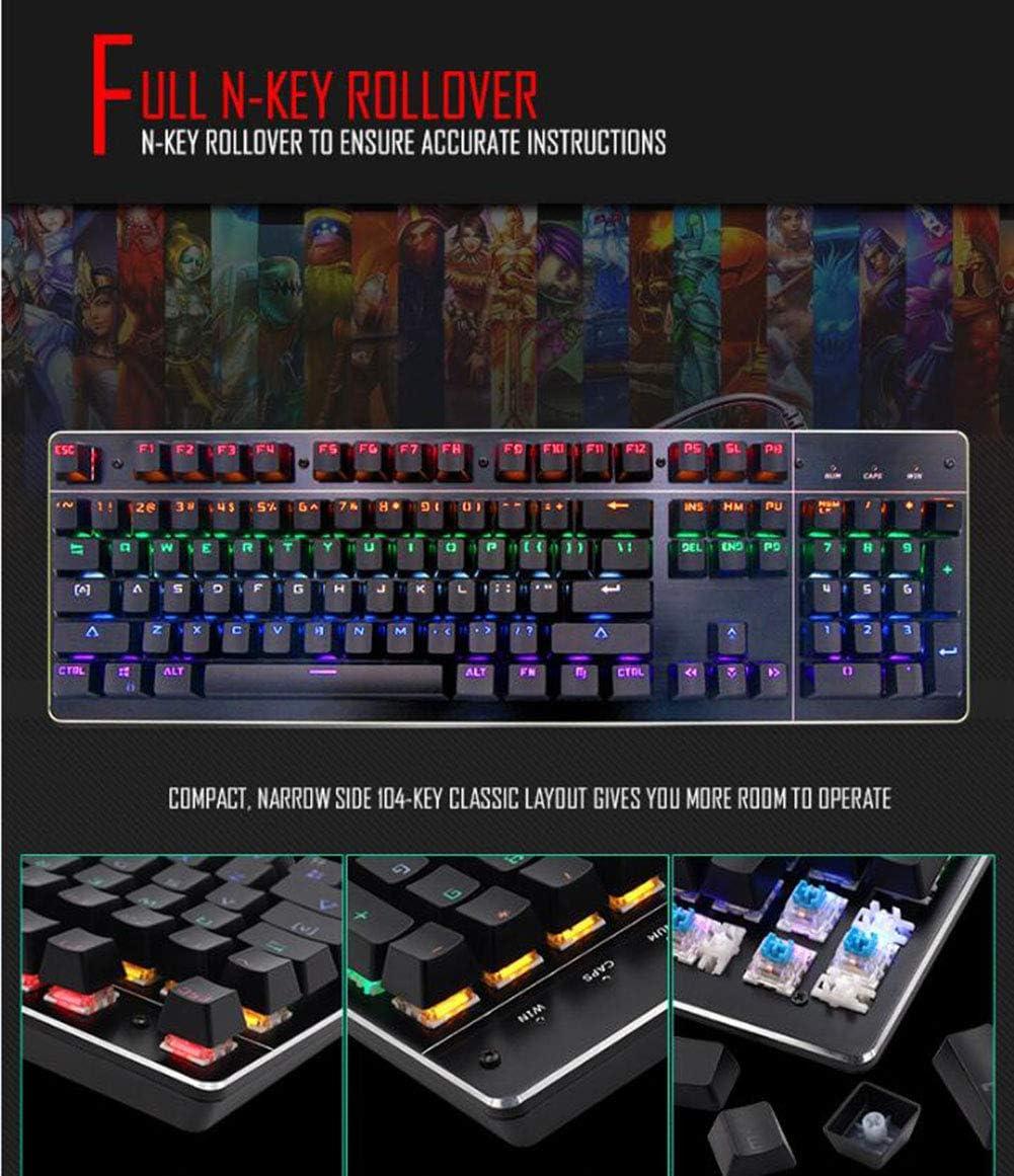 104 Key USB Wired Pad Seven-Color Backlit Mechanical Gaming Keyboard for Gamers WANGJIANGLI Illuminated Gaming Keyboard