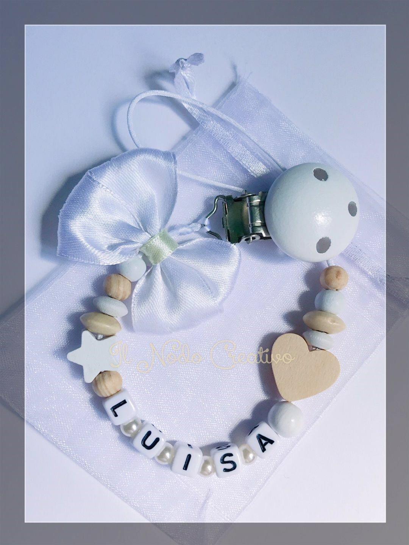 Chupetero blanco ivory | cadena de chupete con nombre ...