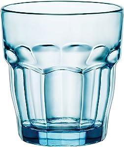 Bormioli Rocco Rock Bar Lounge Rocks Glasses, Blue, Set of 6, 27 cl 9 1/4 oz.