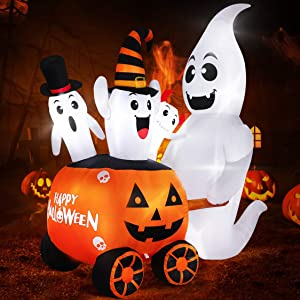 6FT Halloween Inflatables Outdoor Decorations Halloween Blow Up Pumpkin Ghost Decoration with Build-in LEDs for Yard Lawn Garden Indoor Decor, Ghost Pushing Pumpkin Cart with Happy Halloween Design