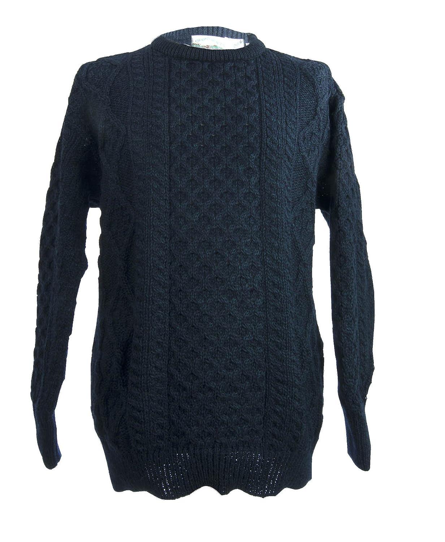 West End Knitwear Merino Wool Traditional Irish Aran Crew Neck Sweater