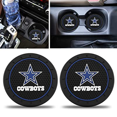 Fast & Furious 2PCS Car Cup Holder Coasters for Dallas Cowboys, 2.8 Inch Car Interior Accessories Durable Non Slip Silicone Logo Cup Mat for All Vehicles: Automotive