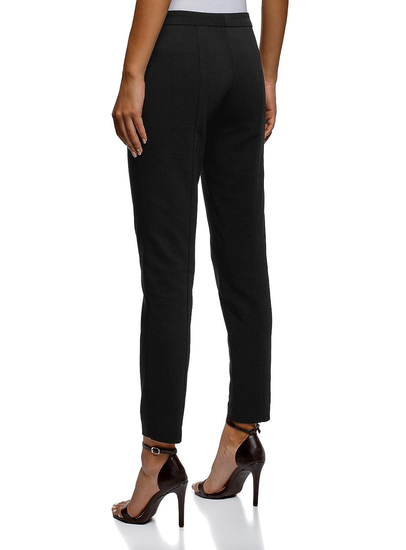 oodji Ultra Mujer Pantalones Ajustados con Cremalleras Decorativas ... 025db7662227
