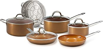 Eternal Kitchen Ideas 10 Piece Copper Nonstick Cookware Set
